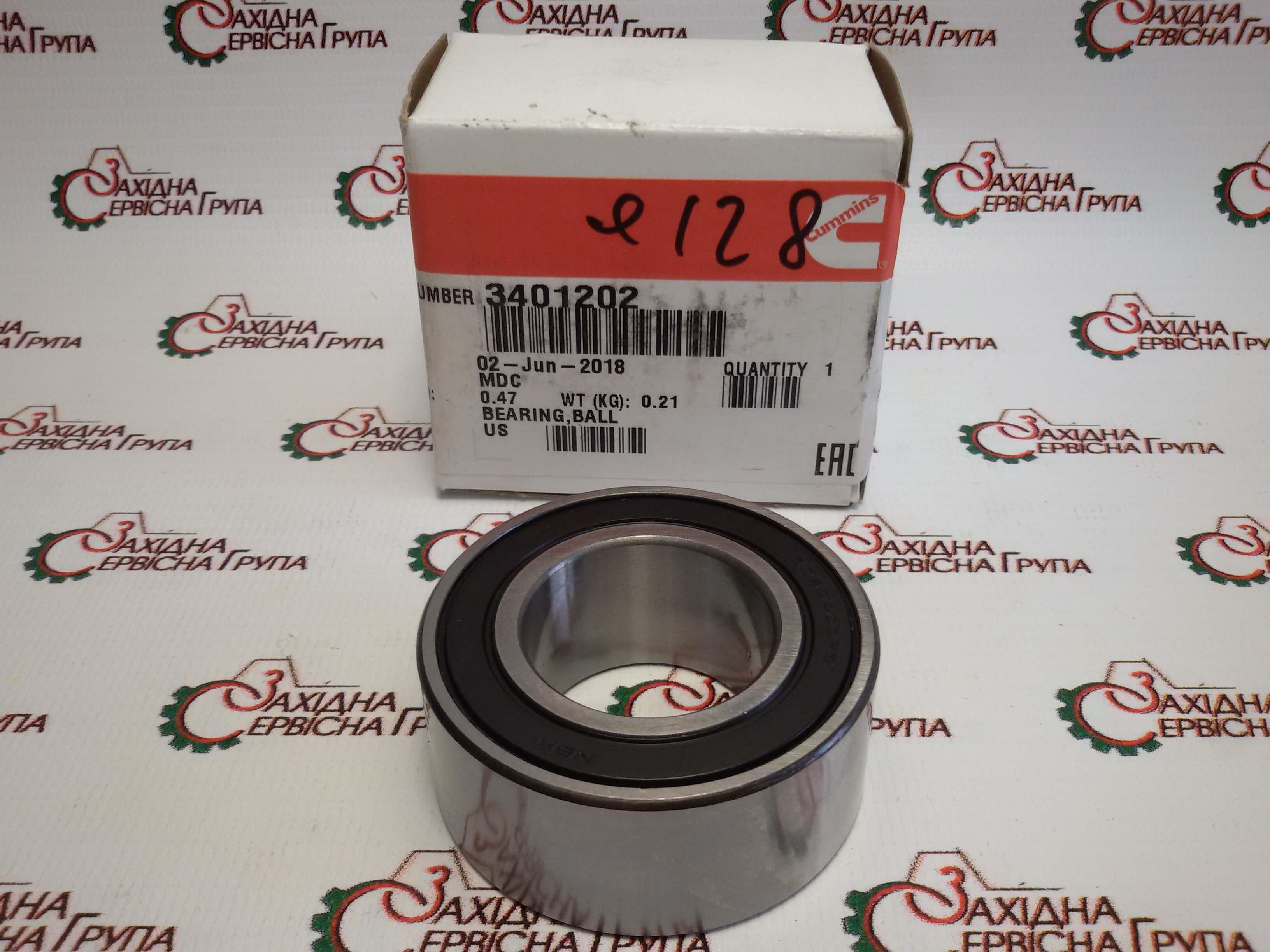 Подшипник промежуточного ролика ремня генератора Cummins ISM11, QSM11, 3401202.