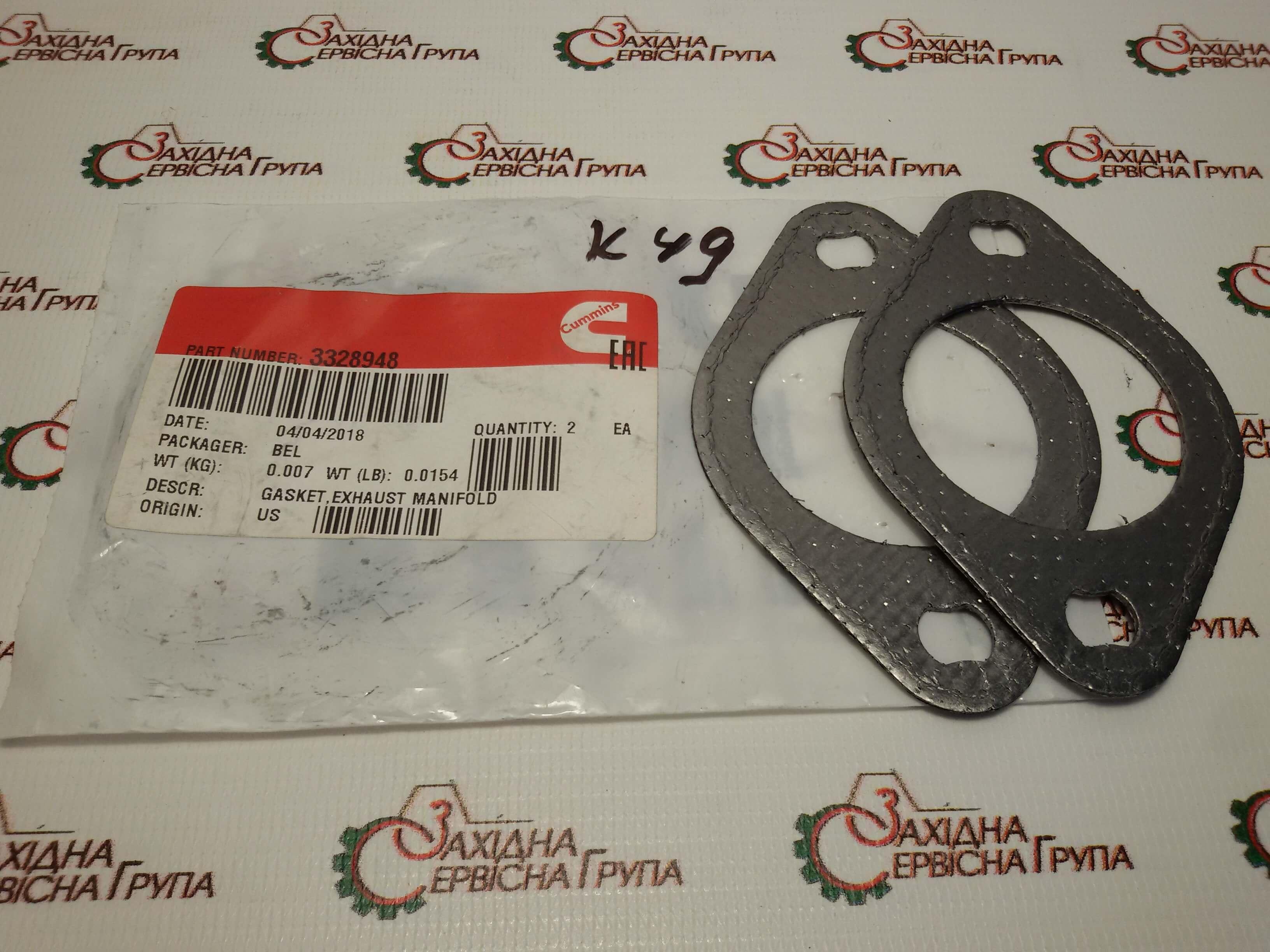 Прокладка выпускного коллектора Cummins ISM11, QSM11, 3328948, 3102804.